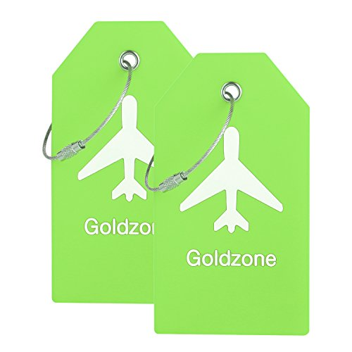 PVC Rubber Luggage Tags w/Full Privacy Flap,Great for Luggage Cases Identification by Goldzone (Green-2 Pack)
