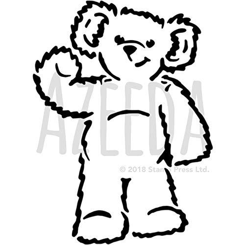 Azeeda A5 'Waving Teddy Bear' Wall Stencil / Template (WS00003734)
