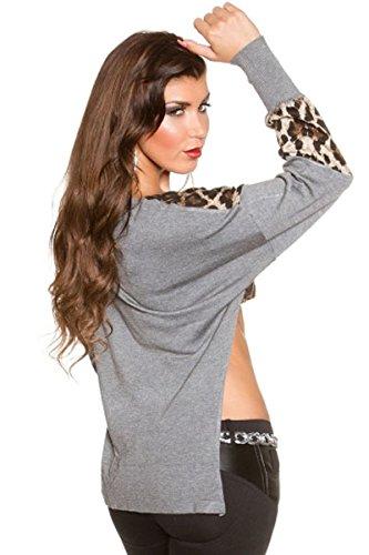 New Ladies Gris y estampado de leopardo manga larga recortada Top Club Wear Summer Casual Tops Talla UK 10–�?2