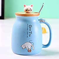 New Sesame cat Heat-Resistant Cup Color Cartoon with lid Cup Kitten Milk Coffee Ceramic Mug Children Cup Office Gifts…