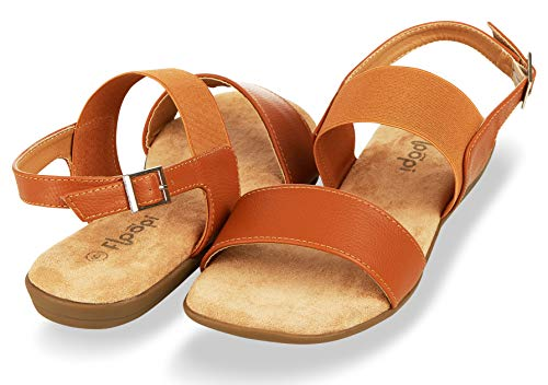 Floopi Summer Sandals for Women | Cute, Open Toe Sandals| Comfy, Wide Elastic & Faux Leather Ankle Straps W/Buckle Design, Flat Sole, Memory Foam Insole (11, Camel-512)