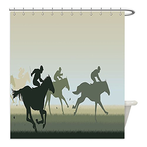 Liguo88 Custom Waterproof Bathroom Shower Curtain Polyester Decor Sport Theme Silhouette of a Horse Race and Riders Illustration Print Green and Beige Decorative bathroom - Matching Horse And Rider Costumes
