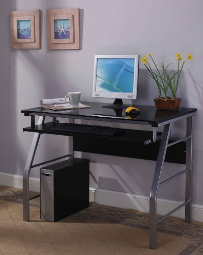 King's Brand 2950 Glass and Metal Home Office Computer Workstation Desk/Table, Silver Finish For Sale