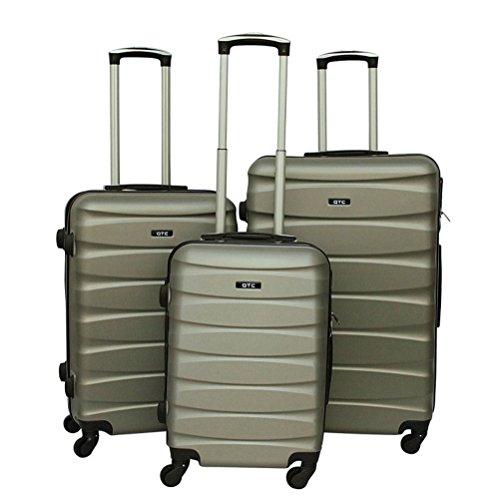 Hartschalen Reisekoffer QTC MAILAND A Trolley Case M L XL Reise Tasche Koffer (2´er Set (M+L), Silber)