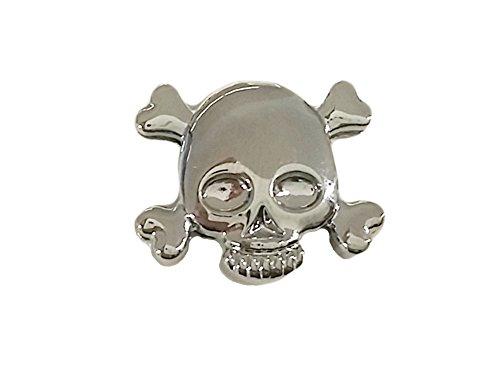 """La Loria Charm Clip - per le donne o ragazze """"Skull"""" a forma di cranio, colore argento - Charm per il cinturino in pelle o i lacci"""