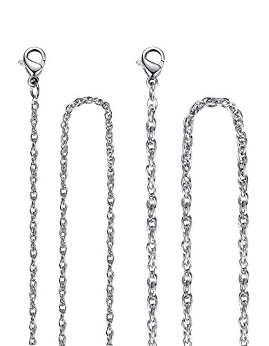 Stainless Steel 1.5mm and 2mm Singapore Twisted Curb Chain Necklace, Set of Two, 18'', mmn001wu18