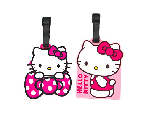 CellDesigns Set of 2 Cartoon Luggage Tag with Adjustable Strap (2 Pack Hello Kitty)