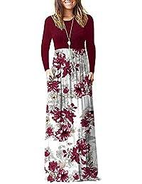 Women Long Sleeve Loose Plain Plus Size Maxi Dresses Casual Long Dresses with Pockets