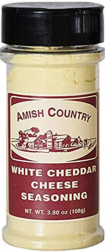 (Amish Country Popcorn - White Cheddar Cheese Popcorn Seasoning (3.8 Oz) Bursting with Old Fashioned Cheese Flavor - with Recipe Guide and 1 Year Extended Freshness Warranty)