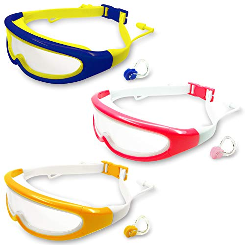 MOTOEYE Kids Swim Goggles Pack of 3,Swimming Glasses for Children and Early Teens,Boys and Girls from 2 to 8Years Old,with Anti-Fog UV Protection Lenses -