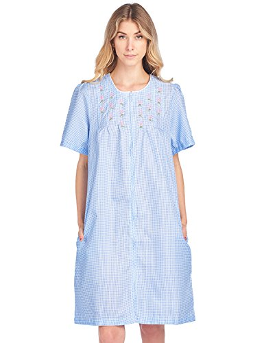 Casual Nights Women's Zipper Front Short Sleeve Gingham Housecoat Duster - Blue - X-Large