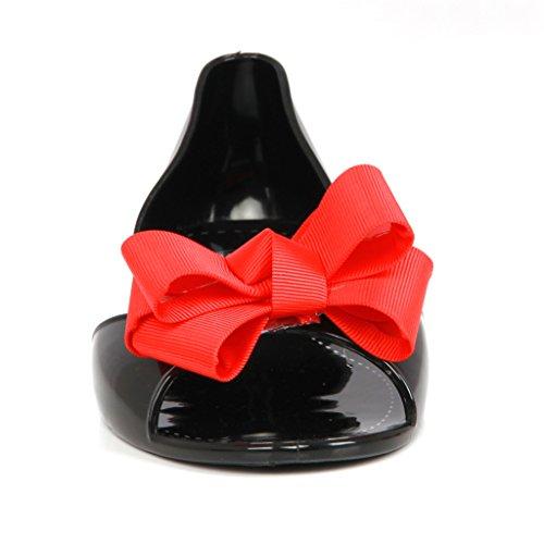 mujeres verano Jelly corbata de moño Sandalias peep toe Zapatos planos Rojo