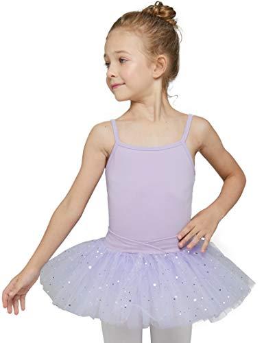 Girls' Camisole Tutu Leotard Dress (4-6 / Small, Purple)