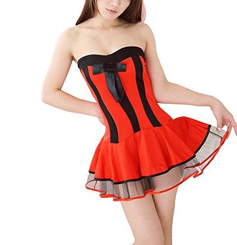 Paplan Tubo para mujer de la Navidad mini vestido superior Rojo