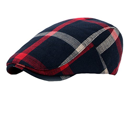 (Eohak Cotton Berets Caps - Classical Plaid Check Hat Vintage Casual Outdoor Newsboy Hat Painter Unisex Visor Forward Hat (Navy)