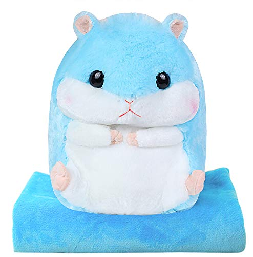 Alpacasso 3 In 1 Cute Hamster Plush Stuffed Animal Toys Throw Pillow Blanket Set by Alpacasso