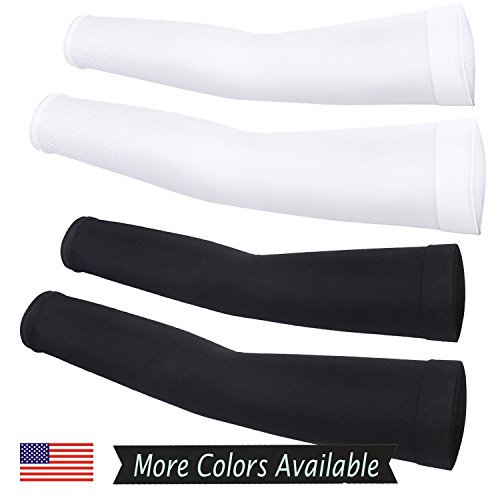 Cooling Compression Sports Arm Sleeve 99% UV Protection for Golf Weight Training Basketball Cycling Pain Injury Recovery, Helps protect arms from abrasions blisters and chaffing BW (2 Pairs)