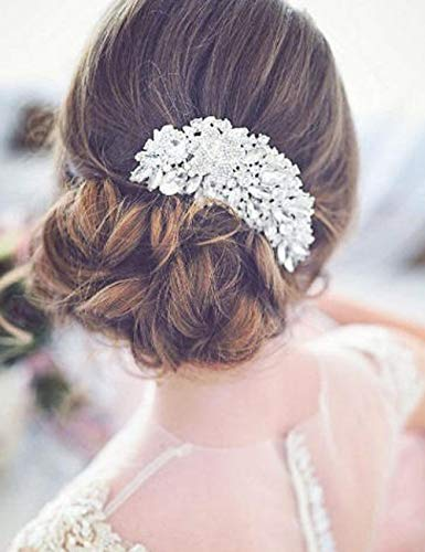 - Deniferymakeup Bridal Comb Floral Silver Crystal Leaf Bridal Hair Comb Vintage Inspired Hairpiece Bridal Hair Accessories Crystal Comb Veil Clip