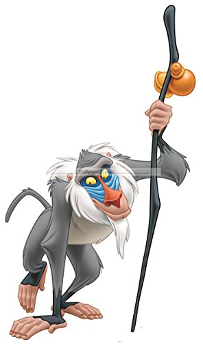 "12"" Rafiki Baboon Monkey Lion King Movie Animal Removable Peel Self Stick Adhesive Vinyl Decorative Wall Decal Sticker Art Kids Room Home Decor Girl Boy Children Bedroom 6 1/2 x 12 inch tall"