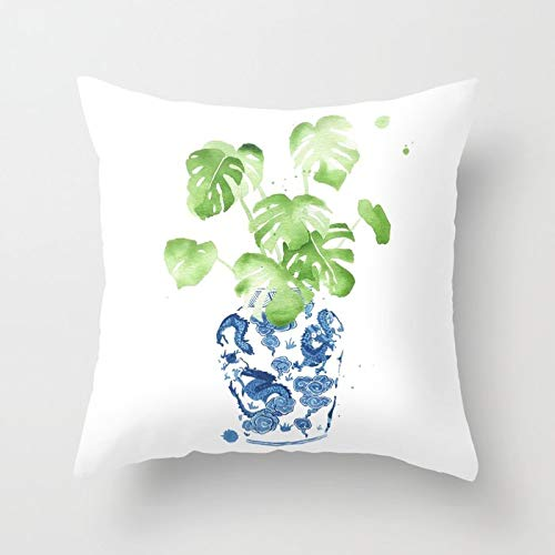 Ginger Bed Cover - Decorative Throw Pillow Cover Square Pillow Case Cover Cotton Cushion Cover for Sofa, Couch, Bed and Car 18x18 inch - Ginger Jar + Monstera