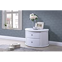 Baxton Studio Ritchie Faux Leather Oval Upholstered Modern Nightstand, White