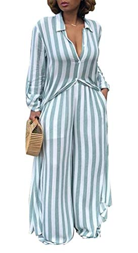 (Beloved Womens 2 Piece Outfits Striped Open Front Kimono Cardigan Pockets Wide Leg Long Pants Sets 1 M)