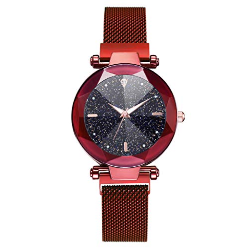 (LUXISDE Watch Women Fashion Starry Sky Convex Glass Quartz Mesh with Magnetic Buckle Ladies Watch Red)