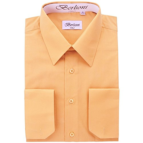 Men's Dress Shirt - Convertible French Cuffs ,Peach,X-Large (17-17.5