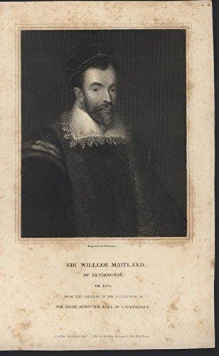 - Sir William Maitland of Lethington 1836 antique engraved portrait print