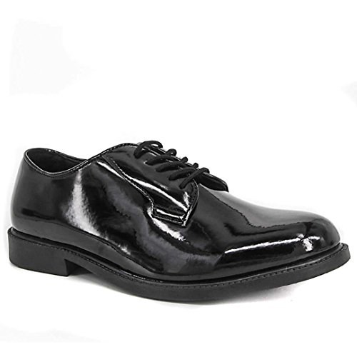 (WIDEWAY Men's Uniform Dress Shoes High Glossy Oxford Shoes Full Grain Leather Office Shoes (8 2E) Black)