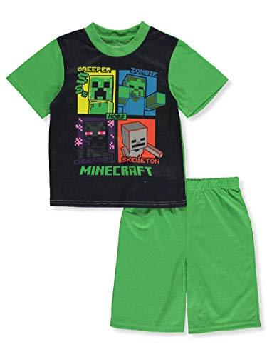 Minecraft Creeper Boys Short Sleeve Pajamas Set (Little Kid/Big Kid) (6, Green/Black)]()