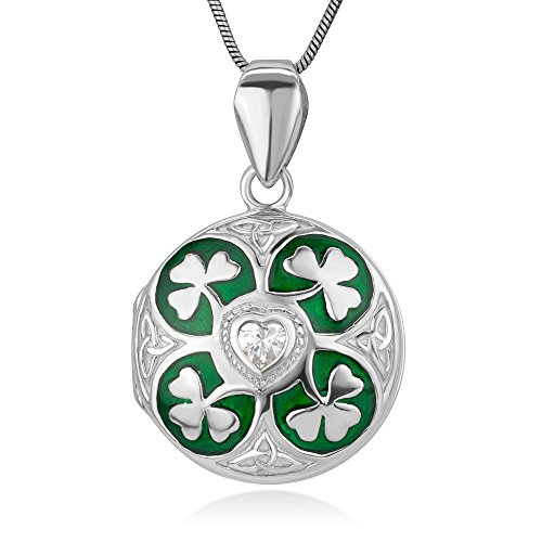 Sterling Silver Green Lucky Shamrock Leaves CZ Heart Trinity Celtic Knot Locket Necklace 18