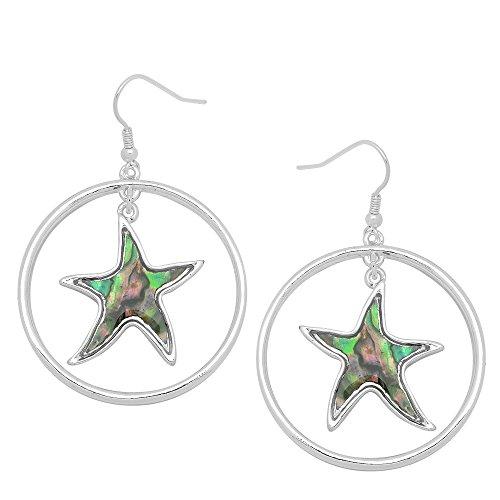 Falari Natural Abalone Shell Earring Silvertone Hook Starfish (Natural Shell Earrings)