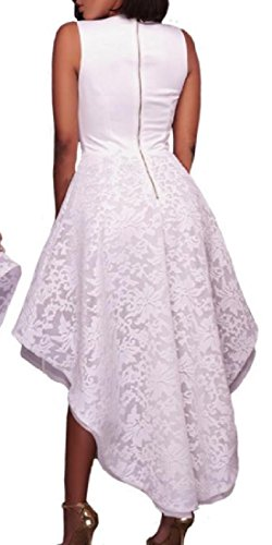 Soirée De Fête Lacework Sans Manches Délicat Des Femmes Coolred Robe De Queue D'aronde Blanc