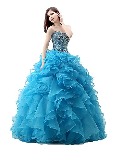 Gowns Anna's Blue Bridal Ball Prom Beaded Ruffles Dresses Quinceanera Women's 4ZqOw8