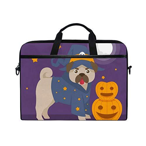 Tataoceanie Fun Pug with Halloween Costume Laptop Bag Shoulder Bag Case Briefcase Messenger Sleeve Shoulder Strap Handle for Men Women for $<!--$25.99-->