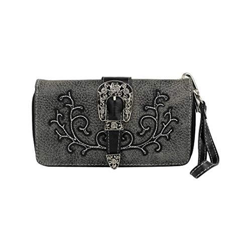 La Dearchuu Women Purse Wallet Skull//Buckle Western Style PU Leather Western Clutch Wristlets Wallet Women with Card Holder /& Coin Pocket