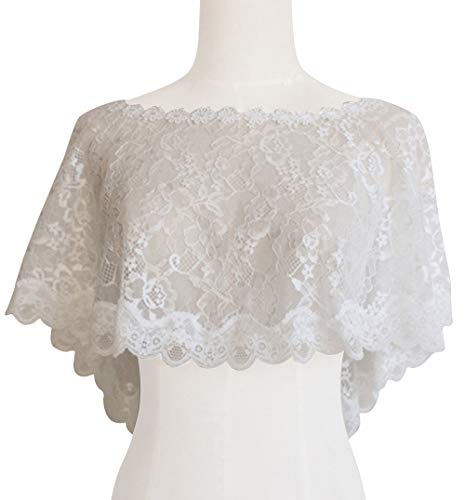 (Women's Floral Lace Shawl Wedding Bolero Bridal Cape Lace Shrug for Wedding Party )