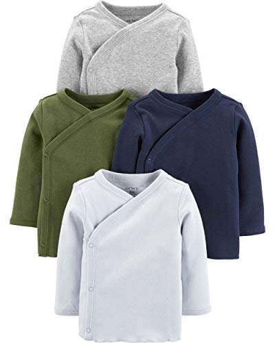 Carters Shirt - Carters Baby Boys 4-Pack Cotton Kimono Tees (6 Months, Green/Navy/Heather)