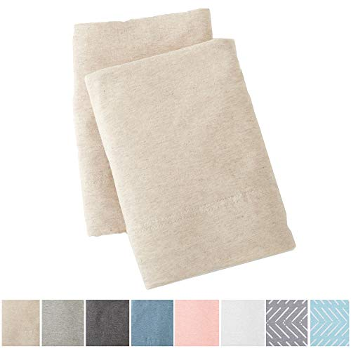 Great Bay Home Extra Soft Heather Jersey Knit (T-Shirt) Pillowcases. 2-Pack of Soft, Comfortable, Cozy Pillowcases. Carmen Collection Brand. (Standard, Oatmeal)