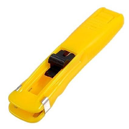 Los estudiantes eDealMax plástico mediano tamaño de Papel almeja Clip grapadora Dispensador Amarillo