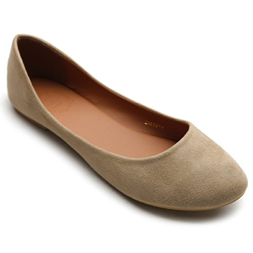 Ollio Womens Shoe Ballet Light Faux Suede Low Heels Flat ZM1014(7 B(M) US, Beige)