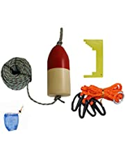 "KUFA 1/4"" Diameter x 100' Leaded Rope/(11"" Float)/Harness/Clipper/Bait Bag Combo Red/White"