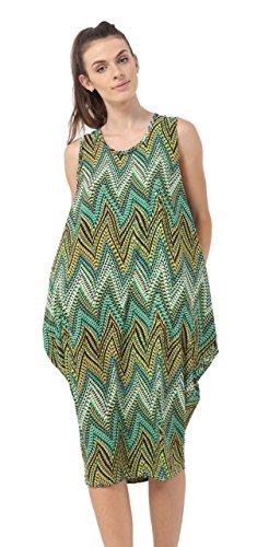 8 Momo AUS Ladies Green Fashions Midi amp Laganlook Length 26 Floral Ayat Print Zigzag Sleeveless Parachute Size Dress q6qfBA7w