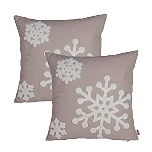 Queenie® - 2 Pcs Christmas Series Embroidered Cotton Linen Decorative Pillowcase Cushion Cover for Sofa Throw Pillow Case (2, Snow Flakes Beige)