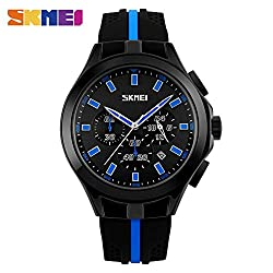 LJS-BQ Multi Function Watches, Men's Outdoor Sports Silicone Waterproof Quartz Watch,Blue