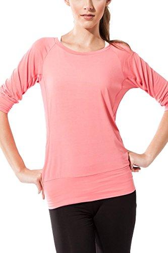 Camiseta Fitness para mujer, Ananda de Sternitz, Tela de Bambú - Ecológica y Suave - Perfecta para Yoga/Pilates/Deportes. Cuello redondo. Manga 3/4. rosa