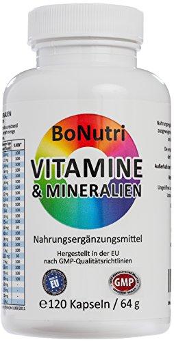 BoNutri 23 Vitamine & Mineralien Mineralstoffe 120 Kapseln Beste Qualität Konzentrat Hochdosiert konzentriert Hohe Tagesdosis 2-Monatsbedarf Glutenfrei Laktosefrei Rückgaberecht