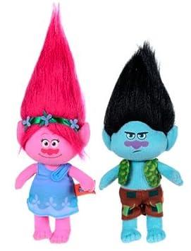 Trolls - Pack 2 peluches Princesa Poppy 37cm (rosa) y Branch 34cm (negro