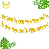 Jungle Safari Animal Banner Gold Glitter Zoo Garland Baby Shower Child Kids Boy Girl Birthday Party Supplies Decorations PRE Strung 2 PCS